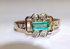 Bright Blue Green Colombian Emerald Diamond Long Baguette Lustrous 14K Gold Ring