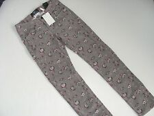 H&M Girls Girl Size 12-13 Floral Gray Corduroy Pants NWT NEW