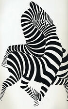 zebra CANVAS vintage art print black white 80cmx 50cm