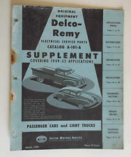 March 1952 Delco Remy Electrical Service Parts Catalog (Cover Only)