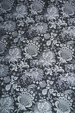 Floral  Jacquard Suiting Apparel Fabric Black Jacobean  Polyester   BFab