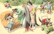 """ANTHROPOMORPHIC CATS """"FAMILY OUTING IN PARK"""" #4854 MAINZER POSTCARD"""