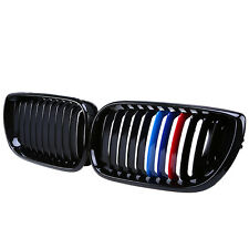 GLOSS BLACK M-COLOR FRONT KIDNEY GRILLES GRILL FOR BMW E46 4-Dr 3 SERIES 02-05