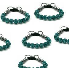 Micro Pave Disco bead Crystal Shamballa Bracelet fit adults,kids Emerald colour