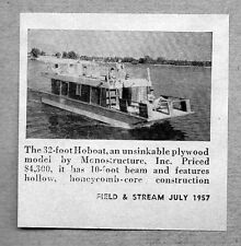 1957 Print Ad Magazine Photo 32 Foot Hoboat Plywood House Boat Monostructure Inc