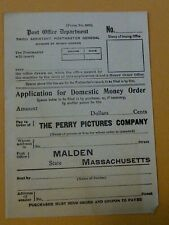 U.S. POST OFFICE, MONEY ORDER ,THE PERRY PICTURES CO.  MALDEN MASS. , UNISSUED