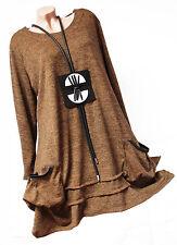 Lagenlook STRICK TUNIKA Pullover Zipfel A-Form EG ca 46 48 50 XL kuschelig Neu
