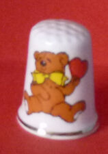 Teddy BEAR with Yellow Bow and Red Heart Thimble