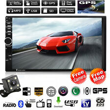 "GPS HD 7"" 2 Din Car MP3 MP5 Player Radio Touch Bluetooth USB/TF/TV +Camera Map"