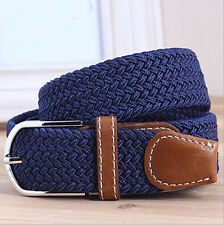 POP Men Woven Stretch Braided Elastic Faux Leather Buckle Belt Waistband ColorMW