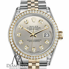 Ladies Rolex Stainless Steel and Gold 26 mm Datejust watch Silver Diamond Dial