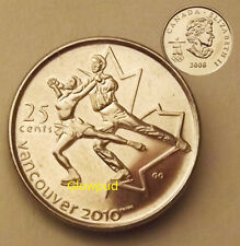 """CANADA COIN .25c VANCOUVER 2010 WINTER OLYMPIC GAMES """" FIGURE SKATING """" *UNC"""