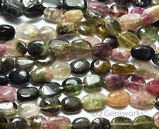 "14"" TOURMALINE Pink Green Black Yellow 8-10mm Oval Beads NATURAL /o1"