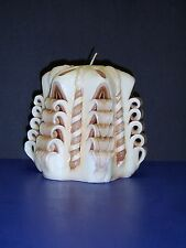 """Outstanding Hand Crafted Scrolled Design Organic Beeswax Candle 4.5"""" x 4.75"""""""