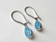 UNIQUE TURKISH HANDMADE STYLISH TURQUOISE 925K STERLING SILVER DROP EARRINGS