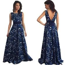 New Women Floral Long V-Neck Formal Prom Dress Party Gown Evening Cocktail Dress