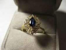 14k Yellow Gold Blue and White Sapphire Ring, size 7.75,  1.36tcw