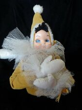 Vtg 60s Large ELF PIXIE Molded FACE Corduroy SUIT Holiday CHRISTMAS Golden DOLL