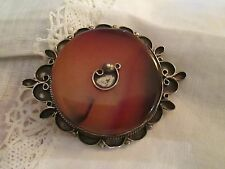 Antique Victorian sterling silver large Scottish banded Agate Brooch pin