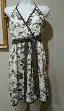 """alice + olivia NWT $330 Silk Halter Dress """"Spencer Camo With Tie"""" Size LARGE"""