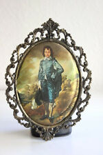 Vintage Italian Intricate Brass Oval Frame with Victorian print Made in Italy