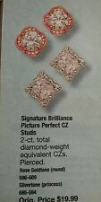 Earring Signature Brilliance Picture-Perfect CZ Studs Rose Goldtone & Silvertone