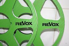 """2 x REVOX LOGO GREEN CARBON FIBER 6 SPOKE LOOK 10.5"""" X 1/4"""" NAB HUBS REEL TOREEL"""