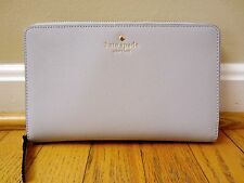 Kate Spade Mikas Pond Zip Travel Wallet Stone Ice Gray Large Clutch Purse NWT