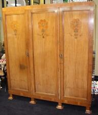 Quality Heavy Art Deco 1930's Walnut Inlaid Triple Wardrobe by Gaylayde