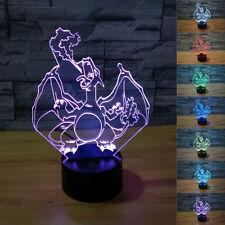 New pokemon go 3D Charizard Night Light 7 Color Change LED Desk Table Lamp Gift