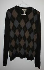 BANANA REPUBLIC Brown Silk Cashmere Argyle Sweater Men's L V-neck