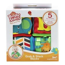 BLOCKS Bright Starts Grab and Stack Blocks  Stacking Letters & Numbers NIB 3mos+