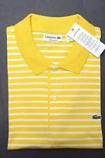 NWT Lacoste Men's Regular Fit Light Yellow Wasp Striped Cotton Polo Shirt XL 6