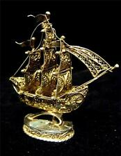 Filigree Gilt Galleon on Base Vintage and Good detail