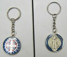ST BENEDICT Protection Key Chain Key Ring ENAMEL Saint Medal Red Blue
