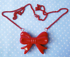 RED BOW NECKLACE ROCKABILLY KREEPYKRYPT CHUNKY BOW