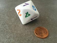 NEW 30mm Jumbo White D7 14 Sided 1 to 7 Twice Die D&D RPG Game Dice