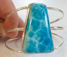 HUGE Natural genuine Turtle Back AAA Larimar 925 silver bracelet BEST on eBay !