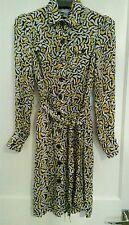 Diane von Furstenberg dvf belted silk dress yellow black ivory