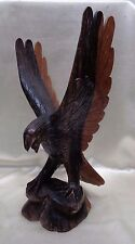 "Very Artistic Estate Found Vintage Wooden Carved Eagle Statue- 14"" Tall"