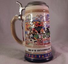 Vintage Beer Stein Pewter Lidded XXIV Olympics GERZ Germany Anheuser Bush