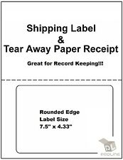 1000 Labels PayPal / Ebay  Shipping w/ Tear off Paper Receipt Click N Ship UPS