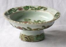 C18TH CHINESE CELADON GROUND PEDESTAL DISH WITH FLORAL DECORATION. A/F