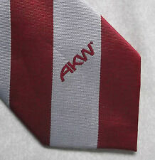 AKW TIE COMPANY CORPORATE ADVERTISING 1980s 1990s RED SILVER STRIPED VINTAGE
