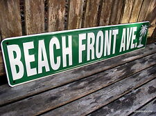 BEACH SIGN BEACH FRONT AVE METAL STREET SIGN PALM TREE HOME DECOR FUN SIGN NEW