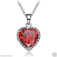 Mothers Day Deal NEEMODA Red Cubic Zirconia Heart Pendant Necklace Jewelry Gifts