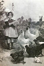 Alfred Strutt FARM GIRL FEEDING HENS Morning Call 1891 Antique Print Matted