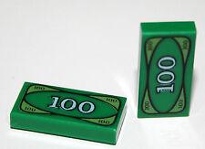2 original LEGO 1x2 imprimé carreaux - 100 dollars-lego original partie vert