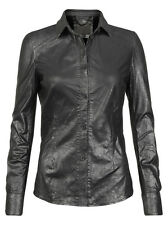 Muubaa Azana Leather Collar Tip Shirt in Gunmetal. RRP £349. M0399. UK 10.