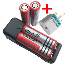 2X 18650 6800mAh 3.7V Li-ion Rechargeable Battery with 4.2V Charger + UK Adaptor